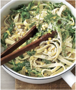 Fettuccine with Leeks, Corn & Arugula in a Cream Sauce